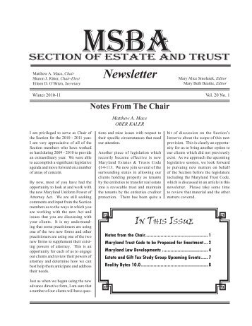Winter 2010-11 Newsletter - The Maryland State Bar Association, Inc.