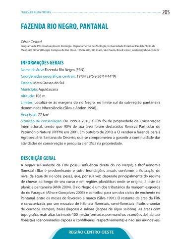 FAZENDA RIO NEGRO, PANTANAL - Conservação Internacional