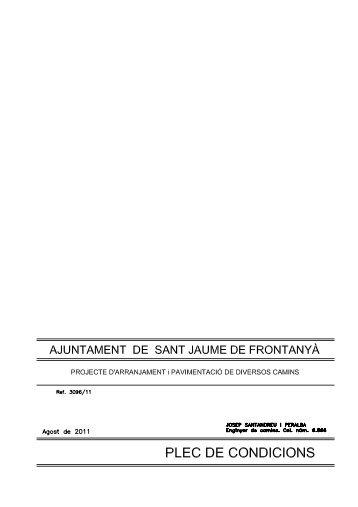 Plec de condicions - Ajuntament de Sant Jaume de Frontanyà