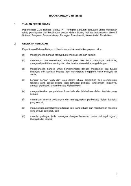 1 Bahasa Melayu H1 8636 1 Tujuan Peperiksaan