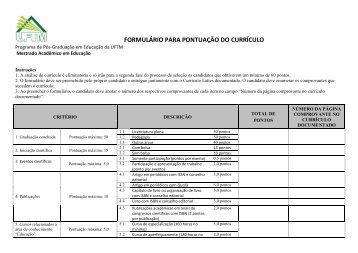 FORMULÁRIO PARA PONTUAÇÃO DO CURRÍCULO - UFTM