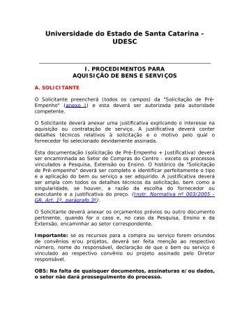 Procedimentos para aquisição de bens e serviços - Udesc