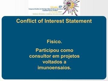 Conflict of Interest Statement - SBPC/ML