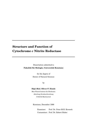 Structure and Function of Cytochrome c Nitrite Reductase - KOPS ...