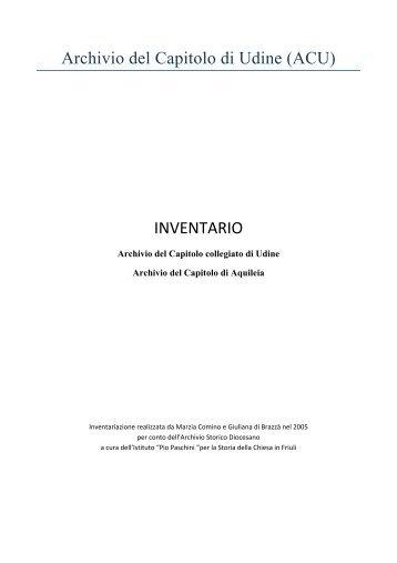 Archivio del Capitolo di Udine (ACU) INVENTARIO - Webdiocesi