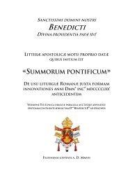 sanctissimi domini nostri benedicti divina providentia ... - Kreuzgang