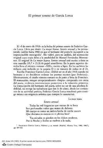 Actas VIII. AIH. El primer soneto de García Lorca. PIERO MENARINI
