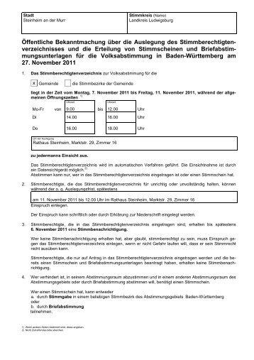 Öffentliche Bekanntmachung.pdf - Stadt Steinheim an der Murr