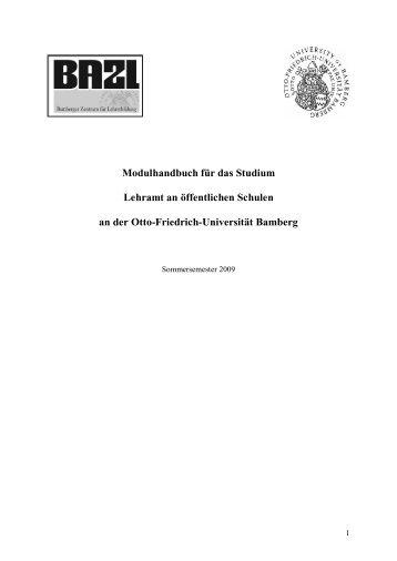 Modulhandbuch für das Studium Lehramt an öffentlichen Schulen ...