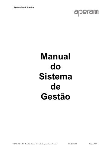 MANUAL DO SISTEMA DE GESTÃO - Aperam