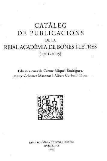CATALEG - Reial Acadèmia de Bones Lletres