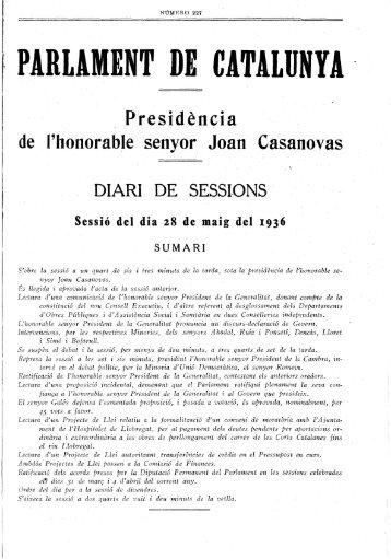 Presidencia le senyor Joan Casanovas I ' - Parlament de Catalunya