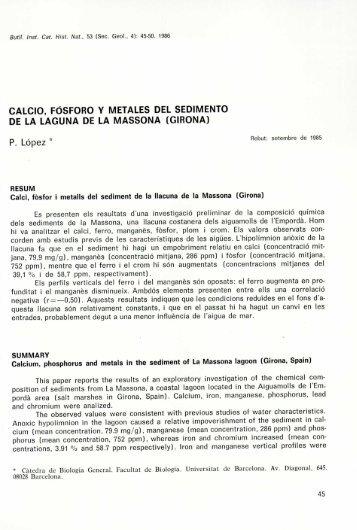 Calcio, fósforo y metales del sedimento de la laguna de la Massona ...