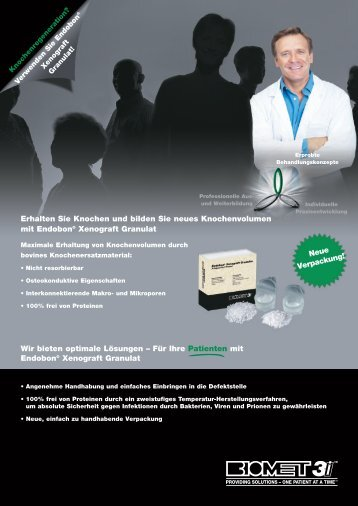Endobon® Xenograft Granulat Bestellinformationen - BIOMET 3i