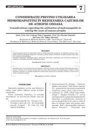 7 consideraºii privind utilizarea hidroxiapatitei în ... - medica.ro