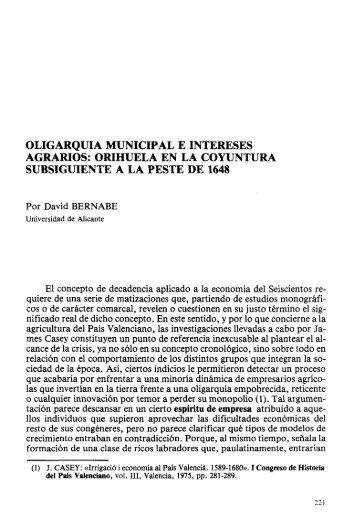 oligarquía municipal e intereses agrarios: orihuela en la coyuntura ...