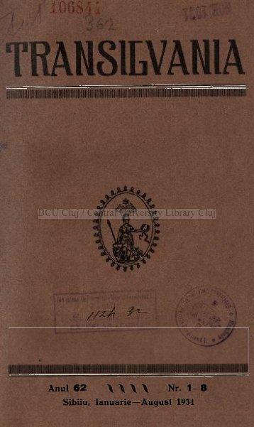 Anul 6 2 \ \ \ \ Nr. 1-8 Sibiiu, Ianuarie—August 1931