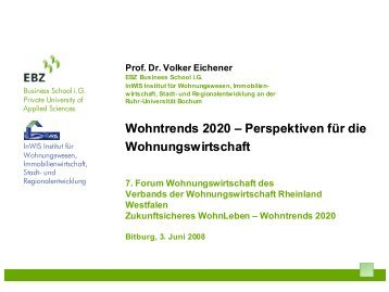 Wohntrends 2020 - InWIS Forschung & Beratung GmbH