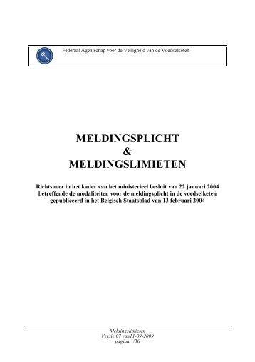 MELDINGSPLICHT & MELDINGSLIMIETEN - Favv