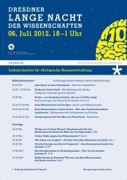 Programm des IÖR zur 10. Dresdner Langen Nacht der ...