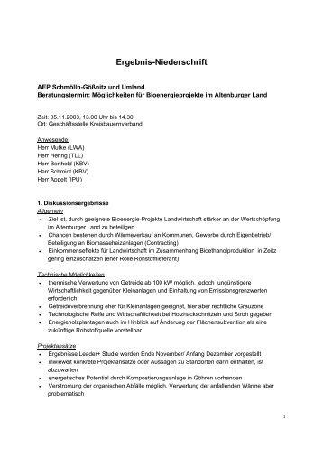 Potenzial nachwachsender Rohstoffe im Altenburger Land - IPU