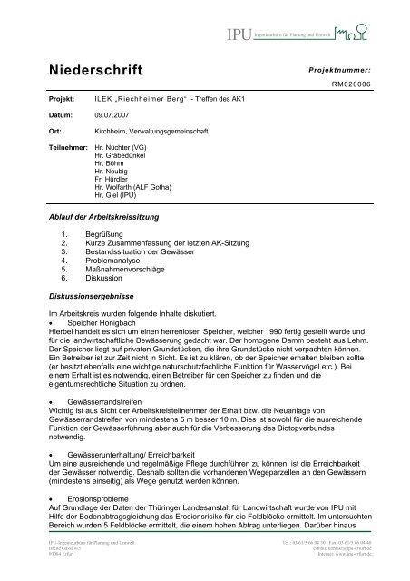 09.07.2007, 19 Uhr, Sitzungssaal der Verwaltungsgemeinschaft ...