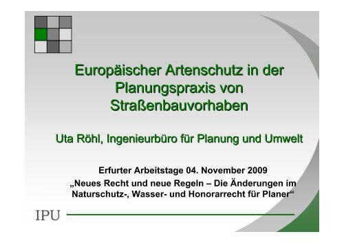 IPU Europäischer Artenschutz in der Planungspraxis von ...