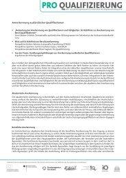 Anerkennung ausländischer Qualifikationen - Pro Qualifizierung