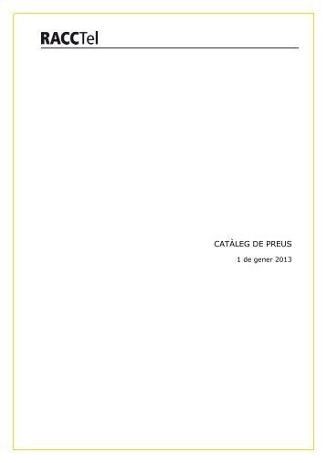 CATÀLEG DE PREUS - Racc