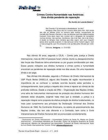 Crimes Contra Humanidade nas Américas: Uma ... - Direito Brasil