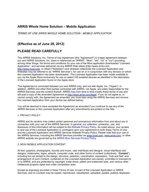 ARRIS Whole Home Solution – Mobile Application (Effective as ... on home service warranty, home service person, home service company, home service project, home service change, home bill of sale, home repair, home training, home service connection,
