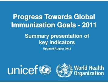Progress Towards Global Immunization Goals - 2011