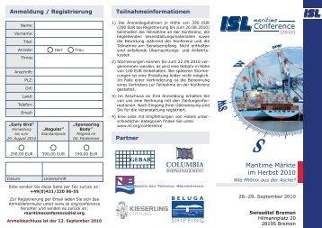 Konferenzflyer - Institut für Seeverkehrswirtschaft und Logistik