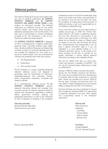 Editorial preface ISL - Institute of Shipping Economics and Logistics