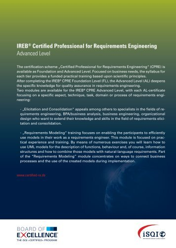 IREB® Certified Professional for Requirements Engineering ... - iSQI