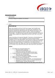 Seminarinformationen Seminartitel Inhalt - iSQI