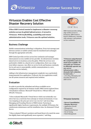 Virtuozzo Enables Cost Effective Disaster Recovery Solution - itms ...