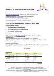 Kurse in Verhaltenstherapie - Vorschau ab Q2, 2009 - Institut für ...