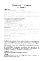 Förderkreis Iwanuschka – Satzung – - Förderkreis Iwanuschka eV