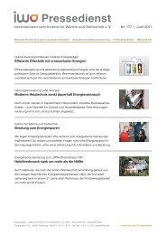 Pressedienst - Institut für wirtschaftliche Oelheizung e.V. IWO