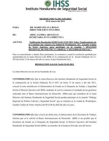 RESOLUCIONES ACTA ORDINARIA No. 011-2011 - IHSS - Instituto ...