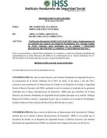 RESOLUCIONES ACTA ORDINARIA No. 011-2011 - IHSS - Instituto ...