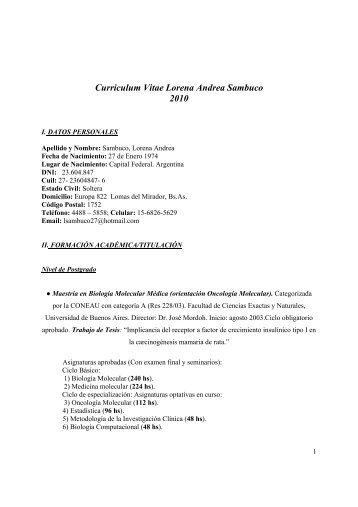 Curriculum Vitae Lorena Andrea Sambuco 2010 - Instituto de ...