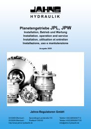 H Y D R A U L I K Planetengetriebe JPL, JPW - Jahns-Regulatoren