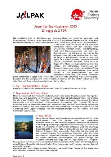 Das ausführliche Programm mit Preise und Terminen 2013
