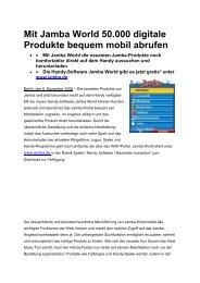 Mit Jamba World 50.000 digitale Produkte bequem mobil abrufen