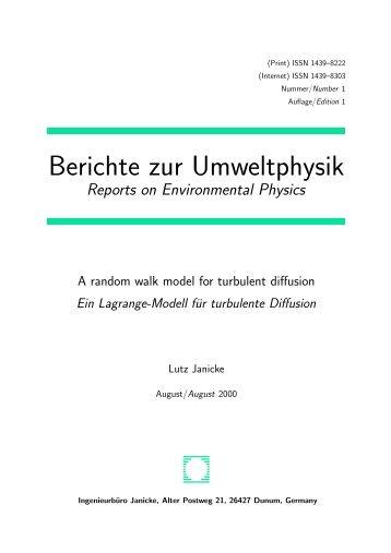 A random walk model for turbulent diffusion - Ingenieurbüro Janicke