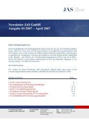 Newsletter JAS GmbH Ausgabe 01/2007 – April 2007 - Jas-team.de