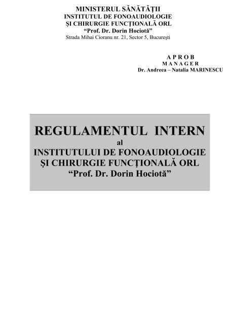 REGULAMENT INTERN - Institutul ORL
