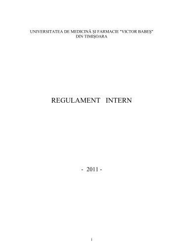 "regulament intern - Universitatea de Medicina si Farmacie ""Victor ..."
